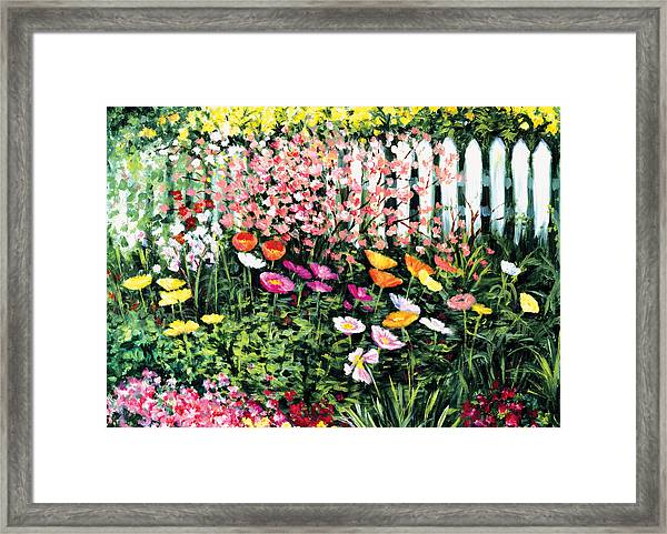 Pickets N' Poppies Framed Print