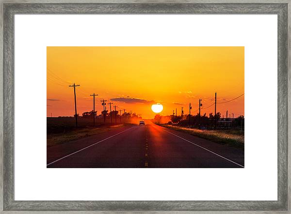 Pickup Truck At Sunset On West Texas Framed Print