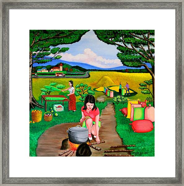 Picnic With The Farmers Framed Print