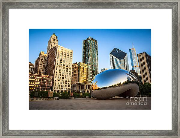 Picture Of Cloud Gate Bean And Chicago Skyline Framed Print
