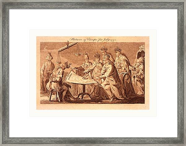 Picture Of Europe For July 1772, Catherine II Framed Print by Polish School