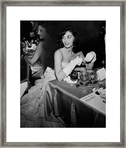 Pier Agnelli Wearing An Evening Gown At A Ball Framed Print by Nick De Morgoli