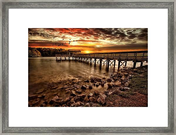 Pier At Smith Mountain Lake Framed Print