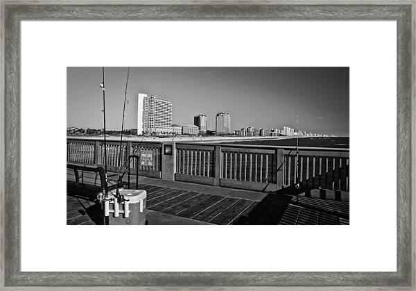 Pier Fishing Framed Print