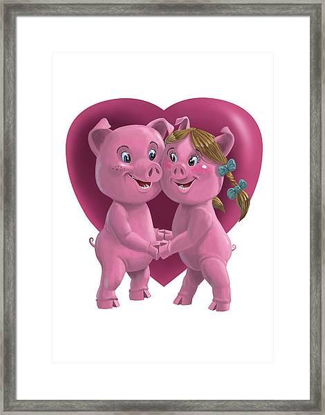 Pigs In Love Framed Print