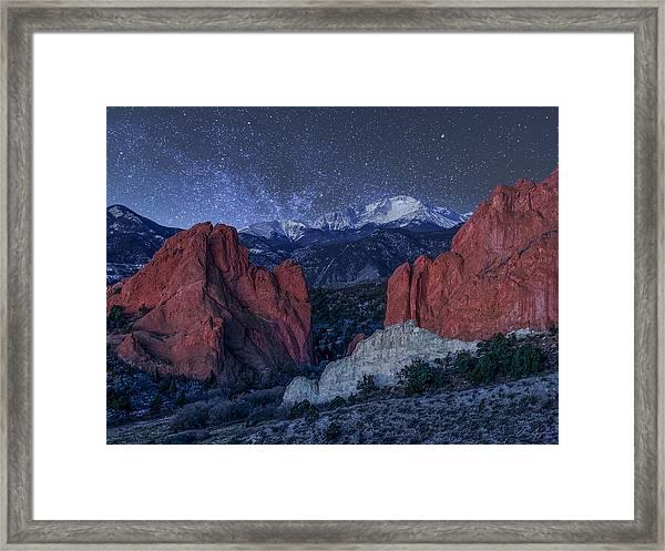 Pikes Peak At Night Framed Print