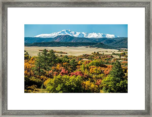 Pikes Peak Over Scrub Oak Framed Print