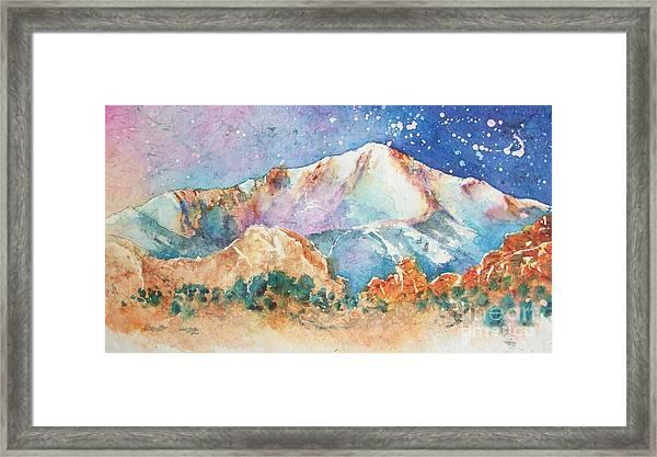 Pikes Peak Over The Garden Of The Gods Framed Print