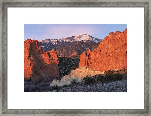Pikes Peak Sunrise Framed Print
