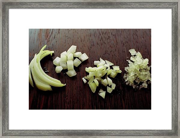 Piles Of Raw Onion Framed Print