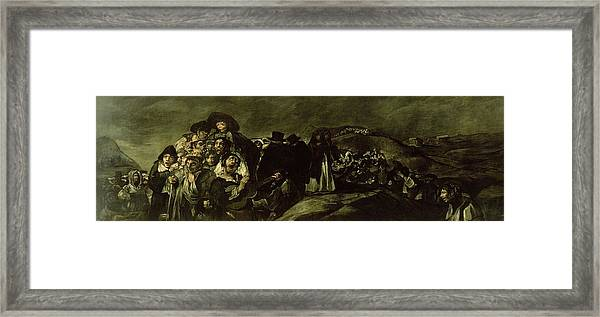 Pilgrimage To San Isidros Fountain, C.18213 Oil On Canvas Framed Print