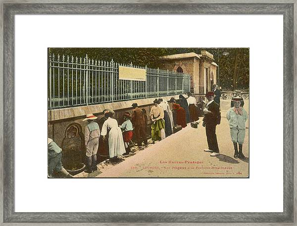 Pilgrims Help Themselves To  Water Framed Print