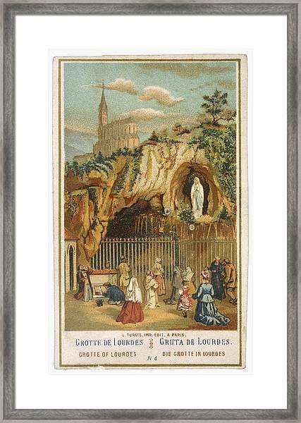 Pilgrims Kneel Before The  Statue Framed Print
