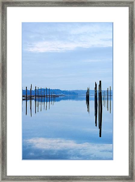 Pilings At Sea With Floating Docks Framed Print by Tom Reese, www.wowography.com