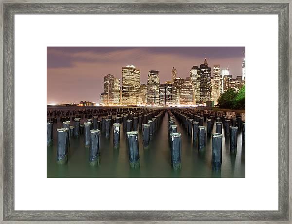Pilings Of Old Piers In Brooklyn Framed Print