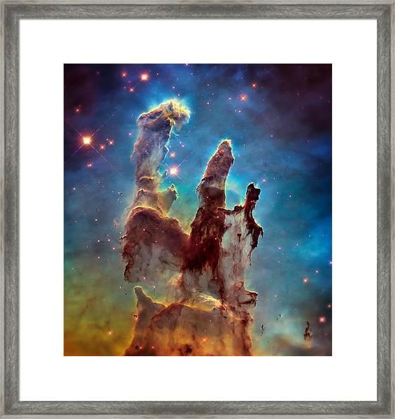 Pillars Of Creation In High Definition - Eagle Nebula Framed Print
