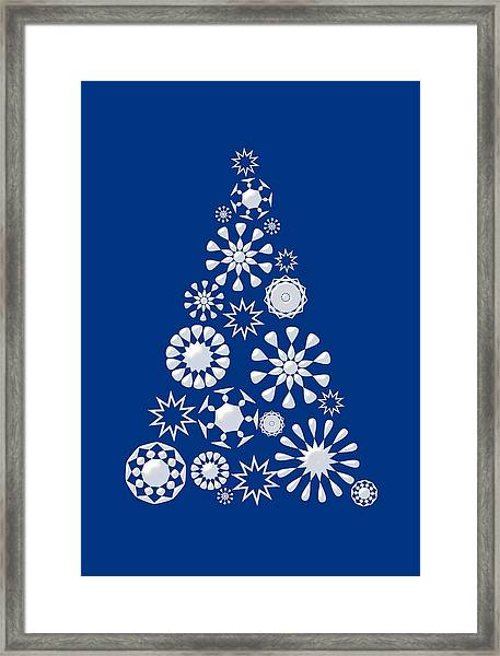 Pine Tree Snowflakes - Dark Blue Framed Print