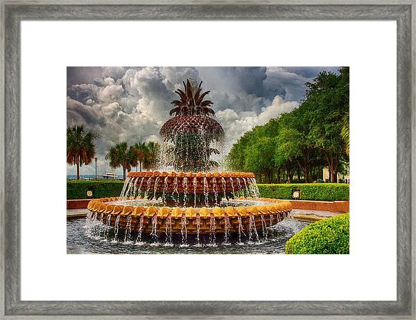 Pineapple Fountain Charleston Framed Print