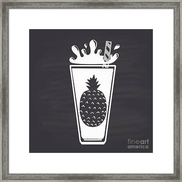 Pineapple Juice Drawn In Chalk In A Framed Print