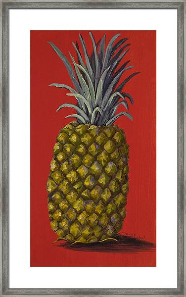 Pineapple On Red Framed Print