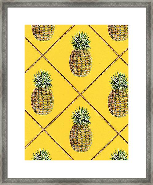 Pineapple Squared Textile Pattern Framed Print