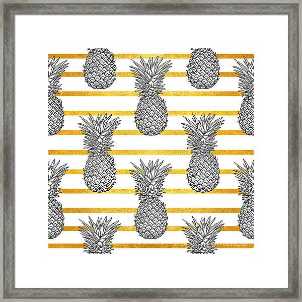 Pineapple Tropical Vector Seamless Framed Print