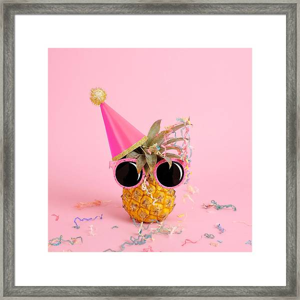 Pineapple Wearing A Party Hat And Framed Print by Juj Winn