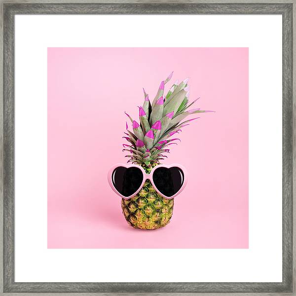 Pineapple Wearing Sunglasses Framed Print by Juj Winn