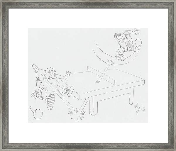 Ping Pong Cartoon Framed Print