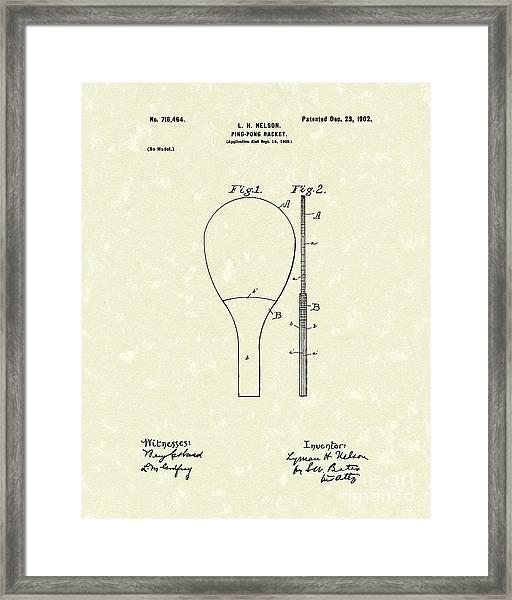 Ping-pong Racket 1902 Patent Art Framed Print