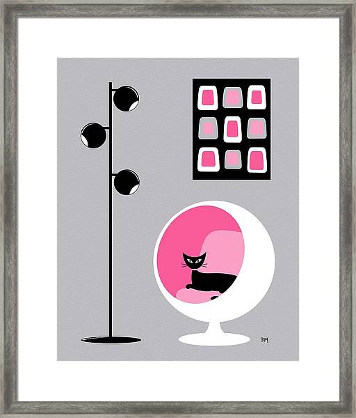 Pink 1 On Gray Framed Print