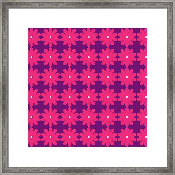 Pink And Purple Flowers Framed Print
