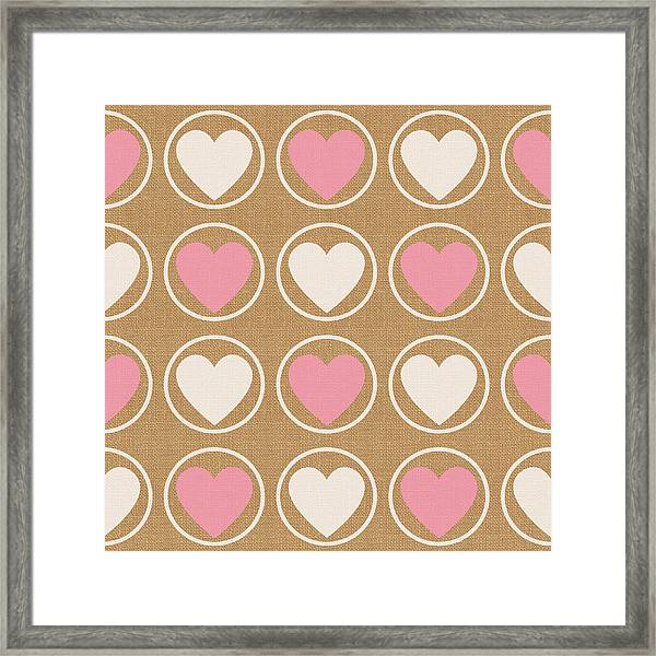 Pink And White Hearts Framed Print