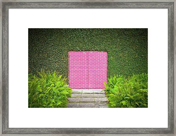 Pink Brick Door Framed Print