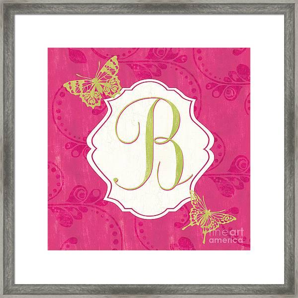 Pink Butterfly Monogram Framed Print