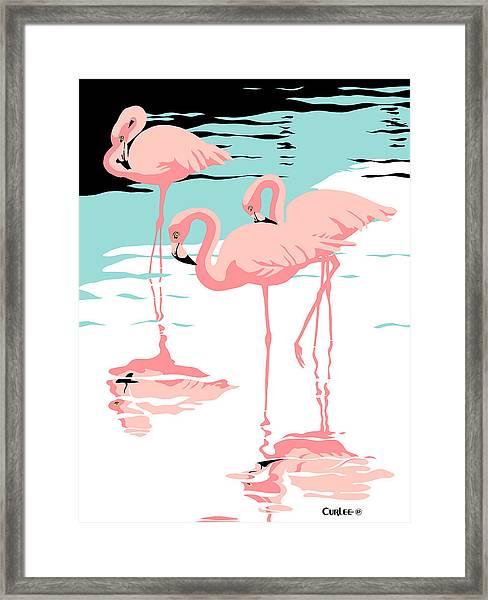 Pink Flamingos Tropical 1980s Abstract Pop Art Nouveau Graphic Art Retro Stylized Florida Print Framed Print