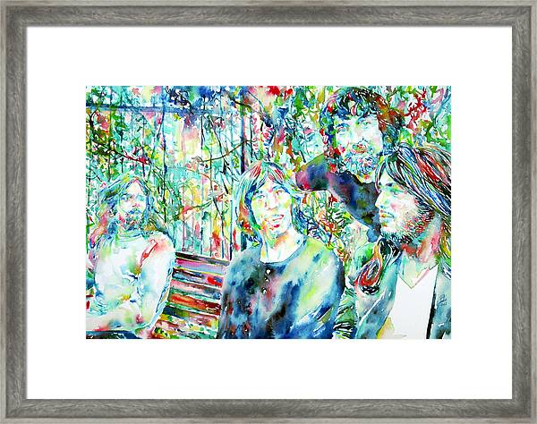 Pink Floyd At The Park Watercolor Portrait Framed Print
