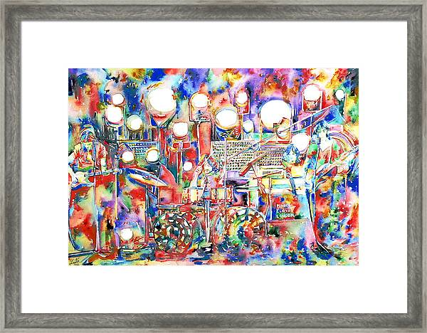 Pink Floyd Live Concert Watercolor Painting.1 Framed Print