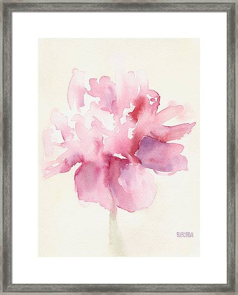 Pink Peony Watercolor Paintings Of Flowers Framed Print