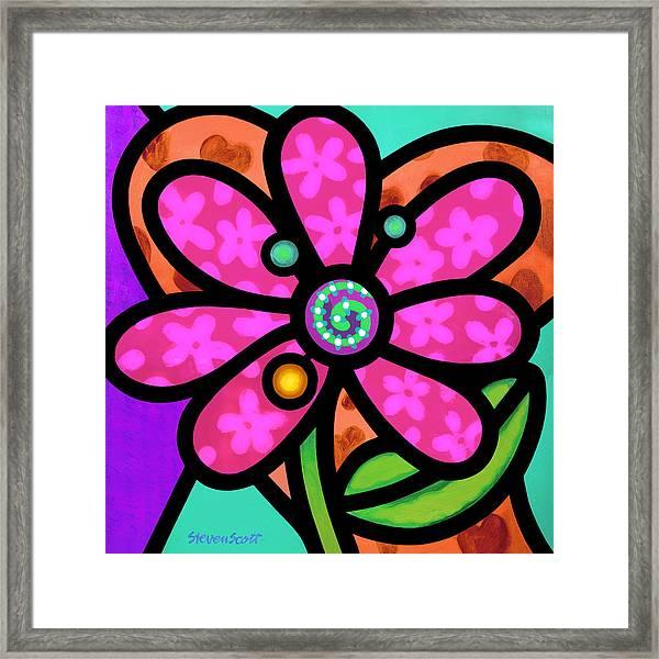 Pink Pinwheel Daisy Framed Print
