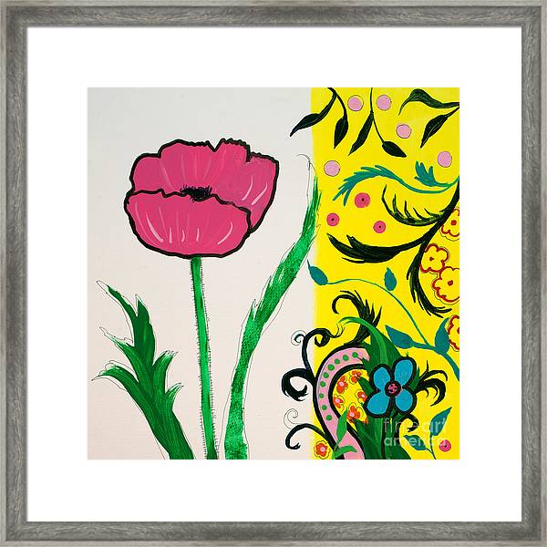 Pink Poppy And Designs Framed Print
