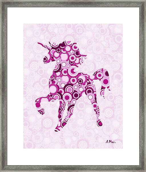 Pink Unicorn - Animal Art Framed Print