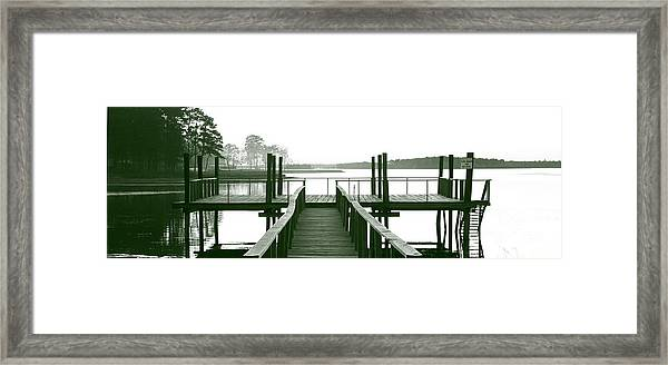 Pirate's Cove Pier In Monochrome Framed Print