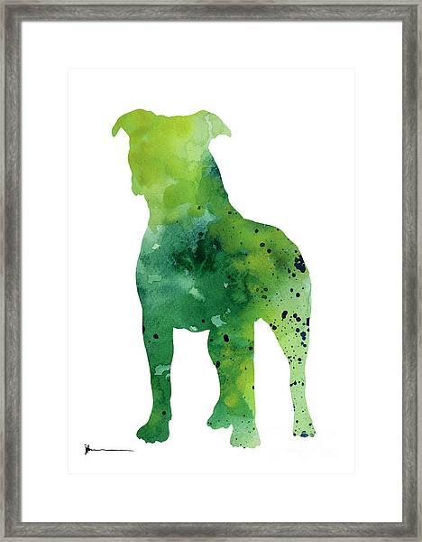Pitbull Silhouette Large Poster For Sale Framed Print