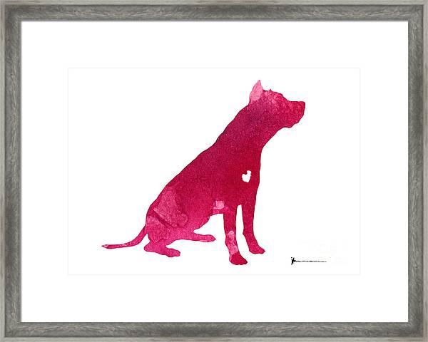 Pitbull Silhouette Watercolor Art Print Painting Framed Print