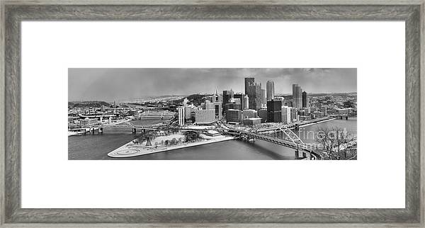 Pittsburgh Black And White Winter Panorama Framed Print