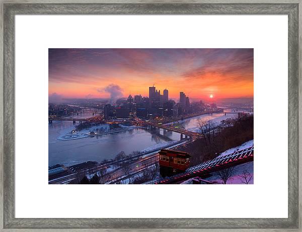 Pittsburgh Skyline Winter 2 Framed Print