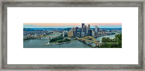 Pittsburgh Panorama At Dusk Framed Print