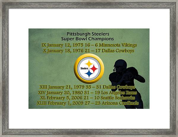 Pittsburgh Steelers Super Bowl Wins Framed Print