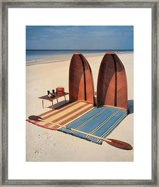 Pixie Collapsible Boat On The Beach Framed Print